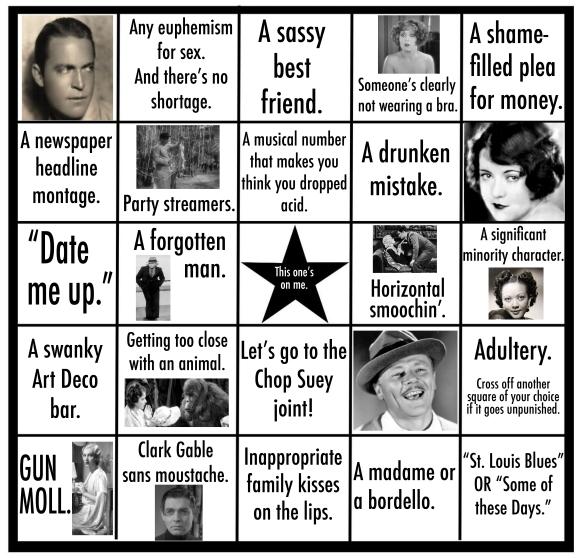 Pre-Code Bingo Card