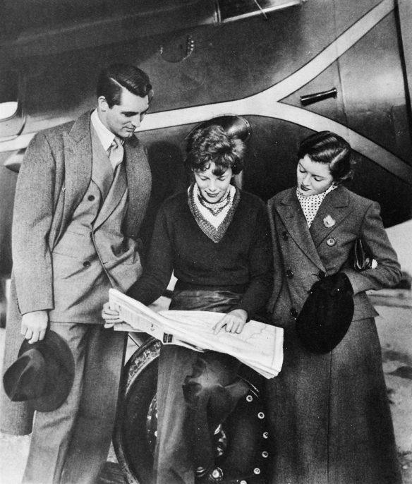 Cary Grant, Amelia Earhart, and Myrna Loy, 1935