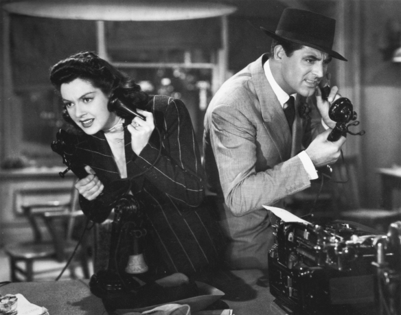 Cary Grant and Rosalind Russell in His Girl Friday, 1940