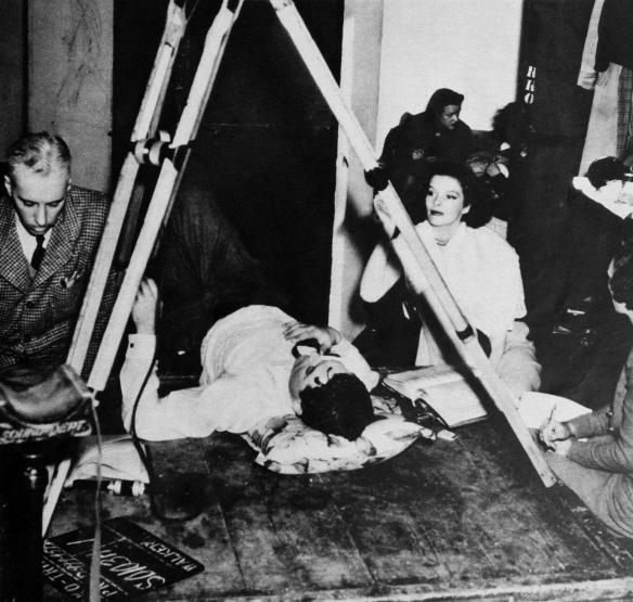 "Howard Hawks, Cary Grant, and Katharine Hepburn on the set of ""B"