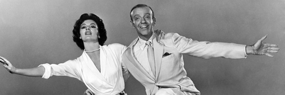 1953: Fred Astaire (1899 - 1987) and Cyd Charisse perform a dance number in 'Band Wagon', directed by Vincente Minnelli for MGM.